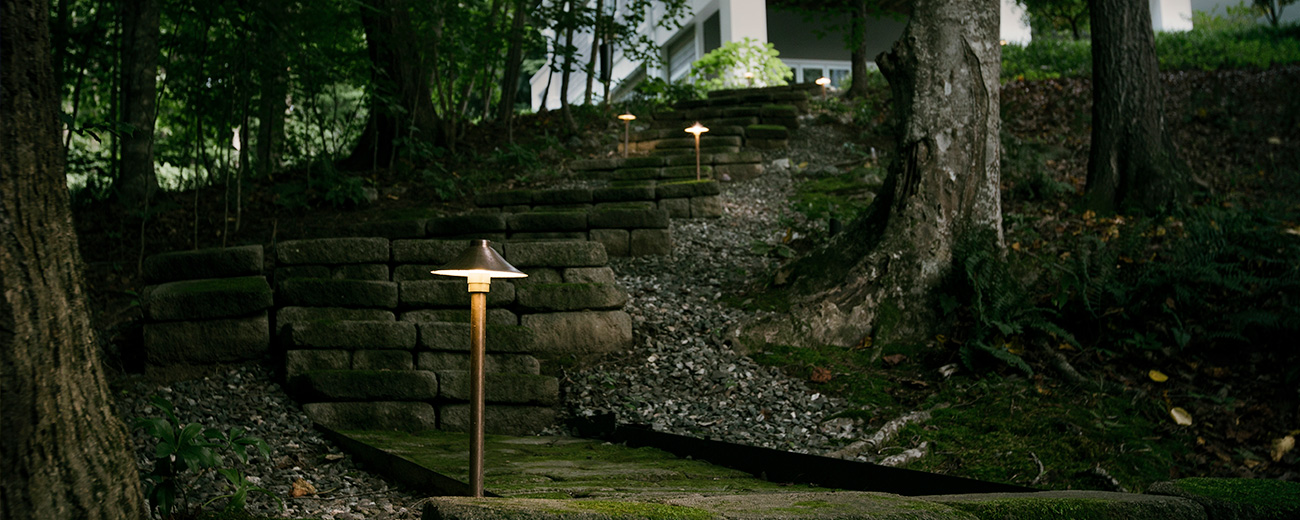 Custom Landscape Lighting on Outdoor Stairs